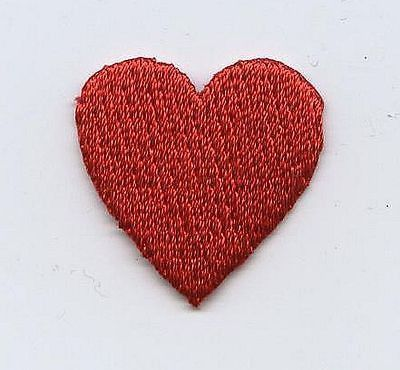 """Iron On Embroidered Applique Patch Small Red Heart Valentines 3/4"""" SET of 2 PCS"""