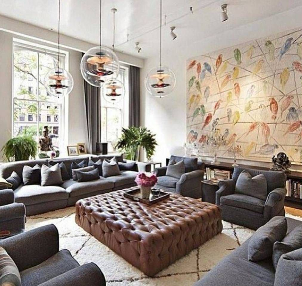 Image result for living rooms with lots of seating front - Large wall decor ideas for living room ...