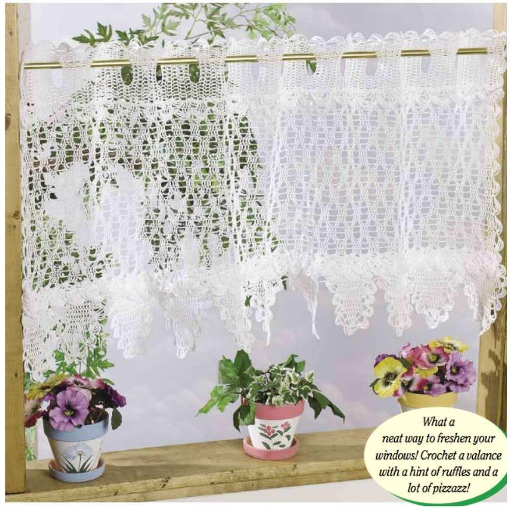 Easy Crochet] Ruffled Splendor Curtain Valance [Free | Free crochet ...