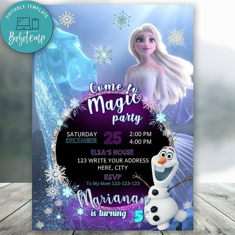 Editable Frozen 2 Elsa Birthday Invitation Instant