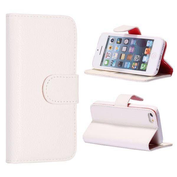 Wit lychee booktype hoesje voor iPhone 5C