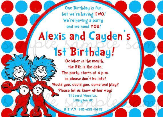 Dr Seuss Thing 1 2 Birthday Invitation Twins By Invitesxo 1200