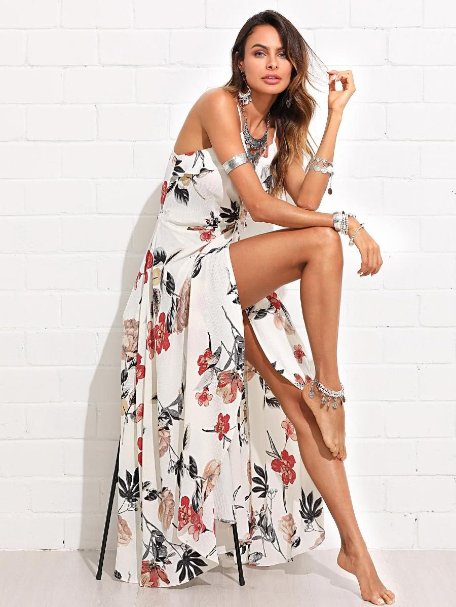 30b44964ae Flower Print Ruffle Embellished Wrap Cami Dress