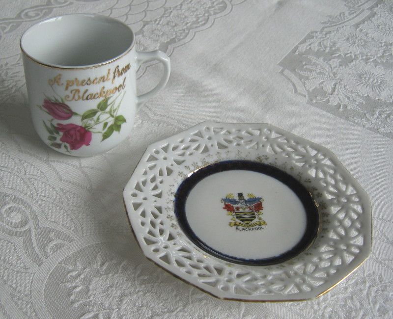 "Antique / vintage ""Blackpool"" crested china ribbon plate ..."
