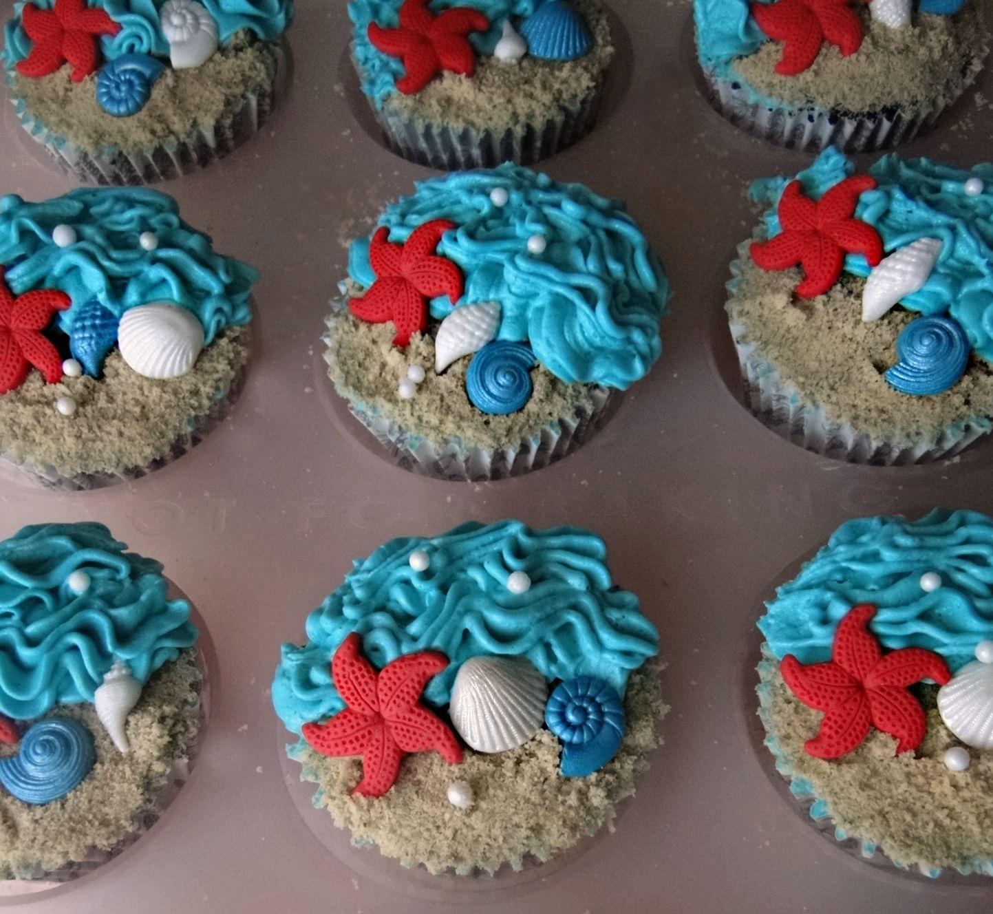Beach Wedding Food Ideas: Cupcake Ideas With A Beach Theme