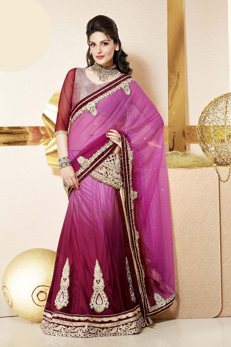 Silk saree lehenga pink net lehenga saree  lehenga saree on variation in  pinterest