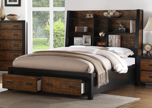 Poundex Bamboo & Metal California King Size Bed with Storage F9321CK ...