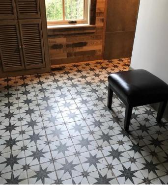 Vintage Floor Tiles Tiling Tilers Tiledealer Tiledeals Scintilla Star Black Segarra Flooring H Tiled Hallway Entryway Flooring Wood Look Tile Floor