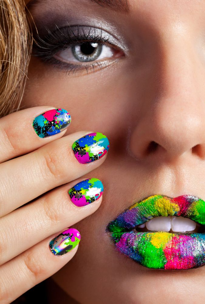 Half face of attractive girl with beautiful multicolor holographic ...