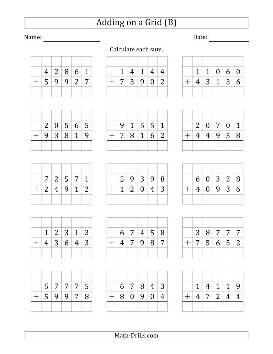 The Adding 5 Digit Plus 5 Digit Numbers On A Grid B Math Worksheet Addition And Subtraction Worksheets Mental Maths Worksheets Mathematics Worksheets [ 1165 x 900 Pixel ]