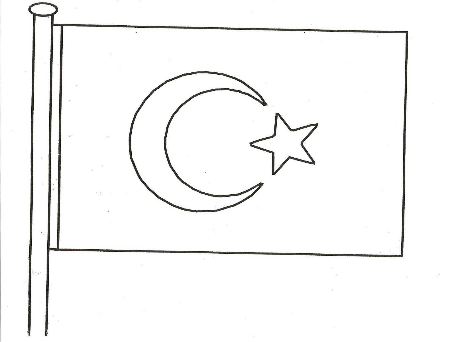 Turk Bayragi Boyama Kagidi Calismasi Turk Bayraklari Boyama Kagidi Boyama Sayfalari Bayrak
