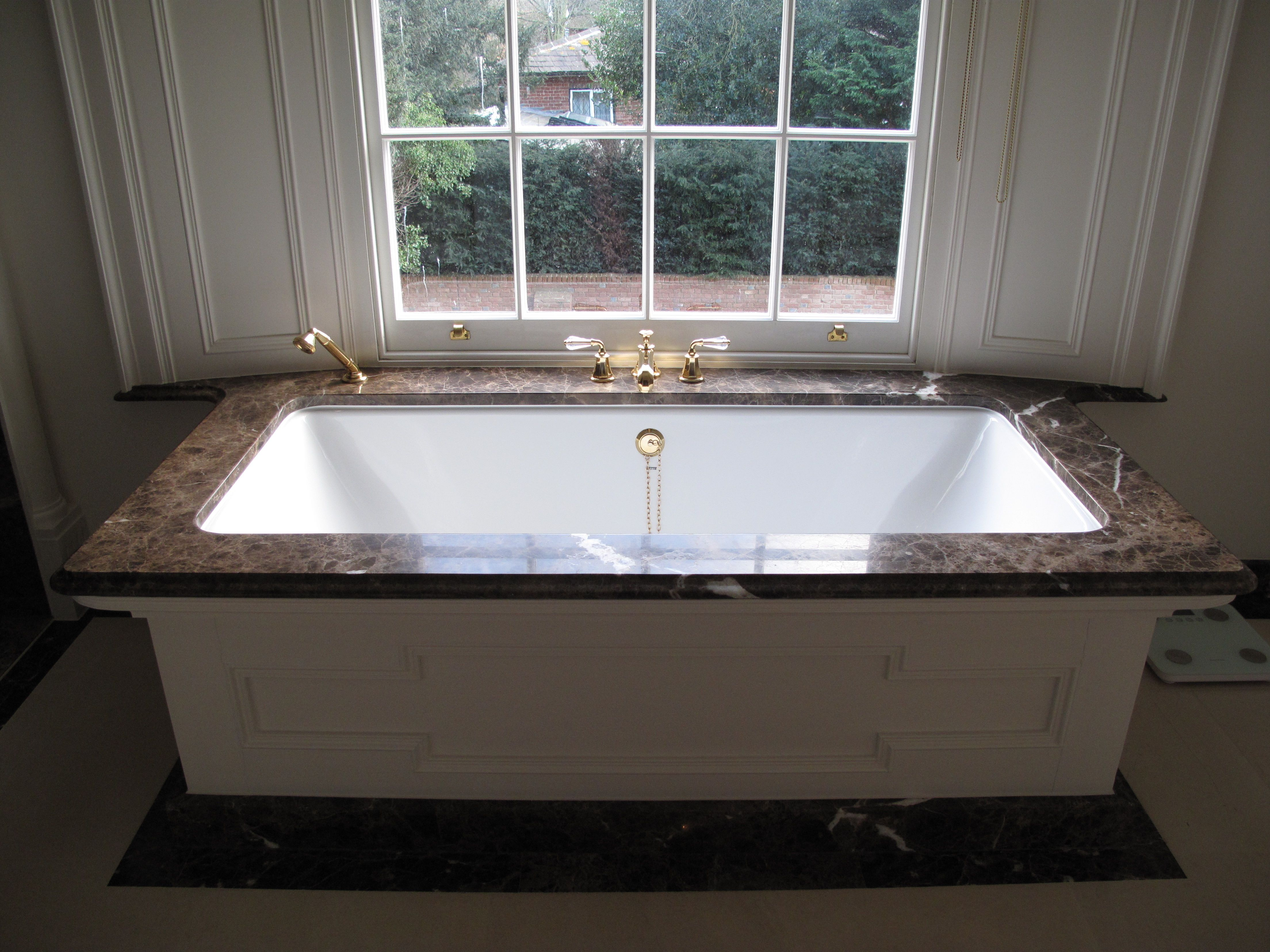 Stunning Emperador Marble Bath Top with Ogee edge detail