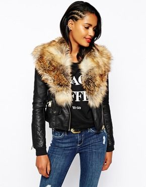 I need this in my life. River Island Biker Jacket With Faux Fur ...