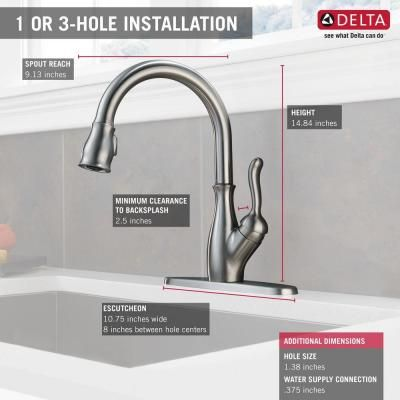 Delta Leland Single Handle Pull Down Sprayer Kitchen Faucet W Shieldspray And Magnatite Docking In Arctic Stainless 9178 Ar Dst The Home Depot Kitchen Faucet Faucet Kitchen Sink Faucets