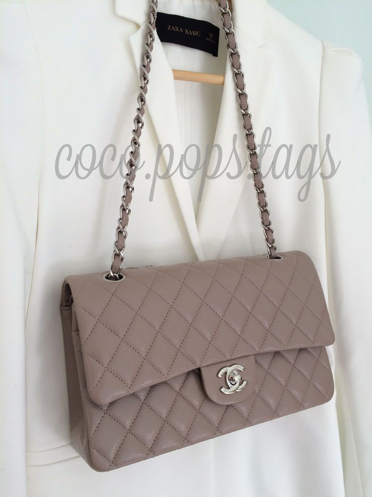 506b0bd4d77bee CHANEL Taupe Nude Caviar Medium / Large Classic Flap w/ Silver Hardware -  NEW! #CHANEL #ShoulderBag