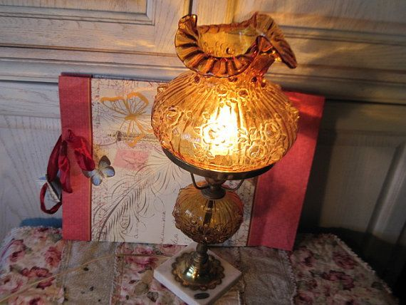 Pretty Amber Hurricane Lamp  with Roses by Daysgonebytreasures, $68.00