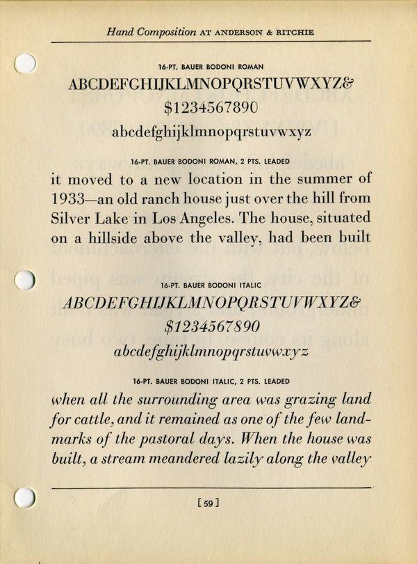 Bauer Bodoni roman and italic type specimen   DESIGN   TYPEFACES