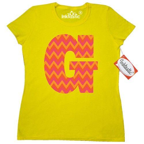 Inktastic G Monogram Chevron Letter Women's T-Shirt Initial Name Alphabet Zigzag Striped Stripes Gift Idea Orange Cute Monogrammed Clothing Apparel Tees Adult Hws, Size: Medium, Daisy
