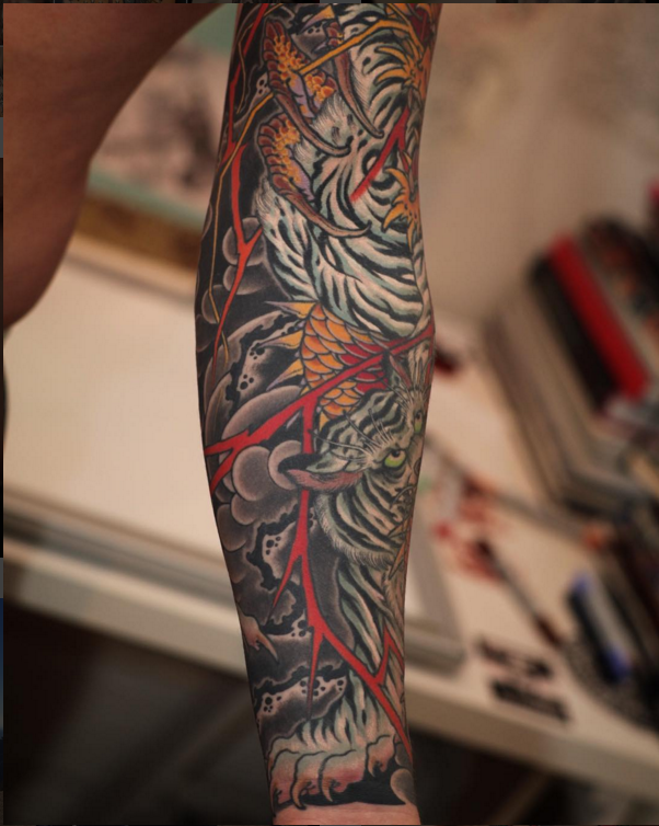 dc4522d985456 tatoo Tiger and Dragon 3/4   Tattoos   Tatuajes japoneses, Tatuajes ...
