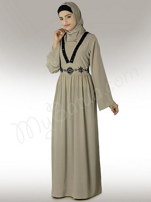 Sumlina Hand Embroidered Abaya!   Style No: Ay-231   Shopping Link: http://www.mybatua.com/sumlina-warm-grey-abaya  Available Sizes XS to 7XL (size chart: http://www.mybatua.com/size-chart/#ABAYA/JILBAB)