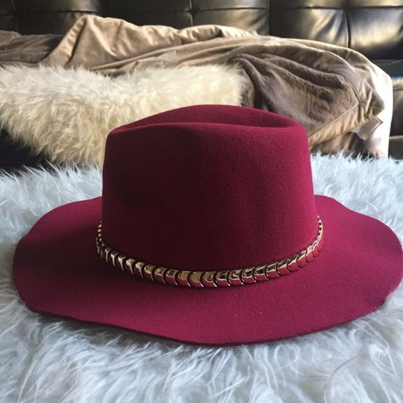 6f3067b537d New Wide Brim Fedora Panama Hat Burgundy team with everything burgundy  colored panama hat. Gold chain embellishment. New