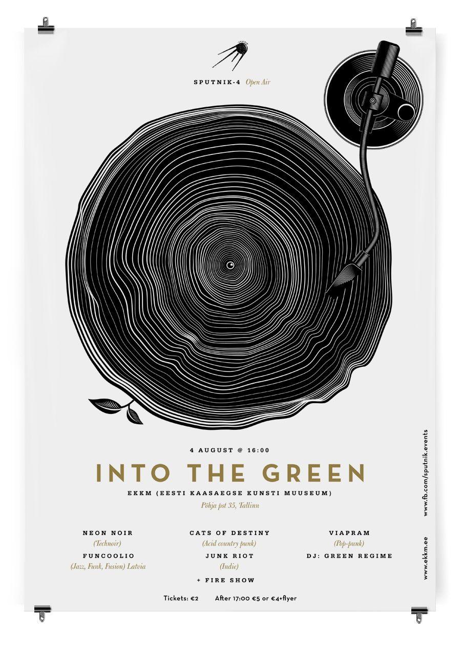 Designed by Anton Burmistrov / Into The Green posters for Sputnik-4 Open Air