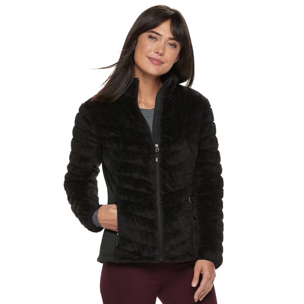 ec07e01f5c Women's Be Boundless Chevron-Quilted Faux-Fur Plush Jacket, Black
