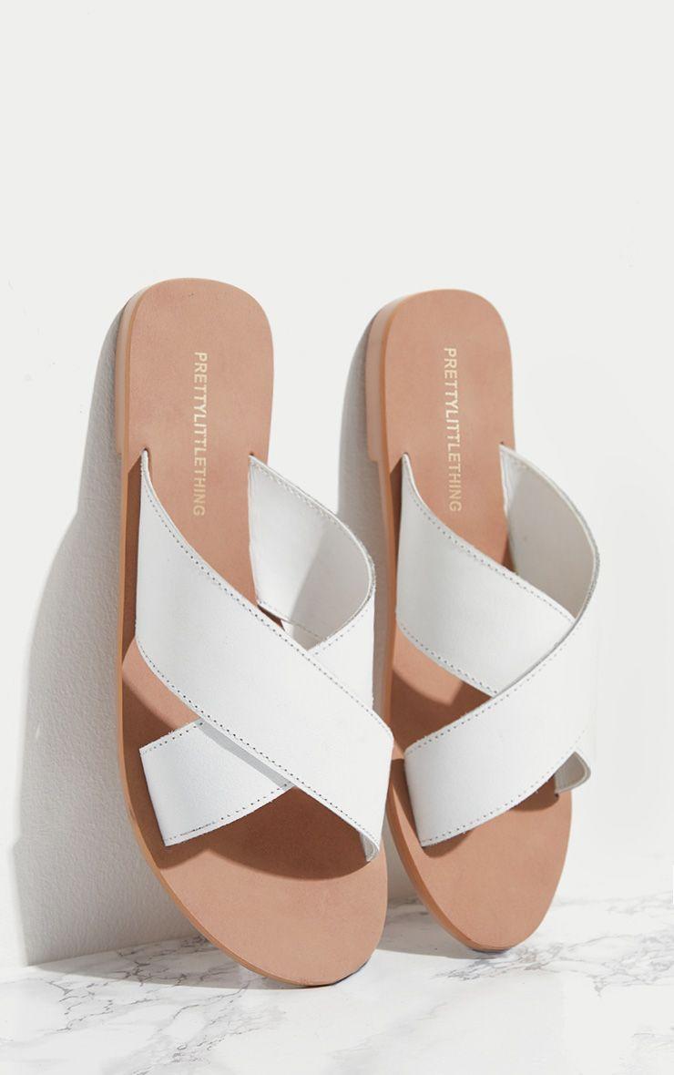 White Leather Cross Strap Sandal
