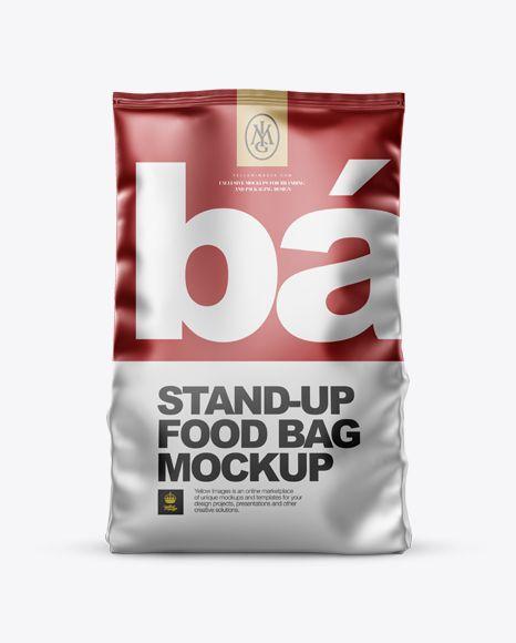Download Matte Metallic Stand Up Bag Mockup Front View In Bag Sack Mockups On Yellow Images Object Mockups Mockup Free Psd Free Psd Mockups Templates Bag Mockup