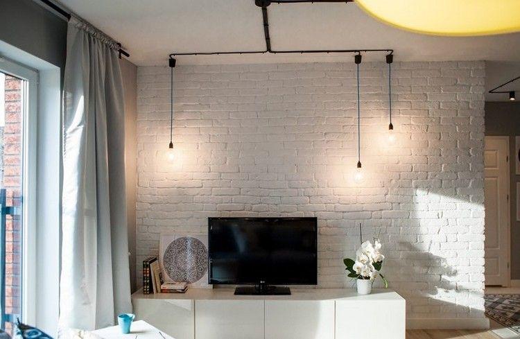 weiße Backsteinwand hinter Fernseher New leaving st Pinterest