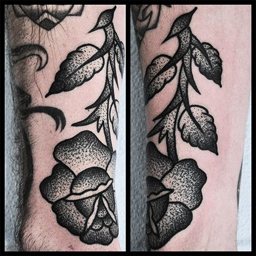 Stipple Shading Flower Tattoo By Mike Adams