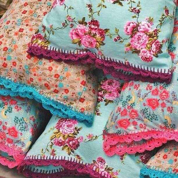 Boho Style Pillow Covers w/Crochet edging.