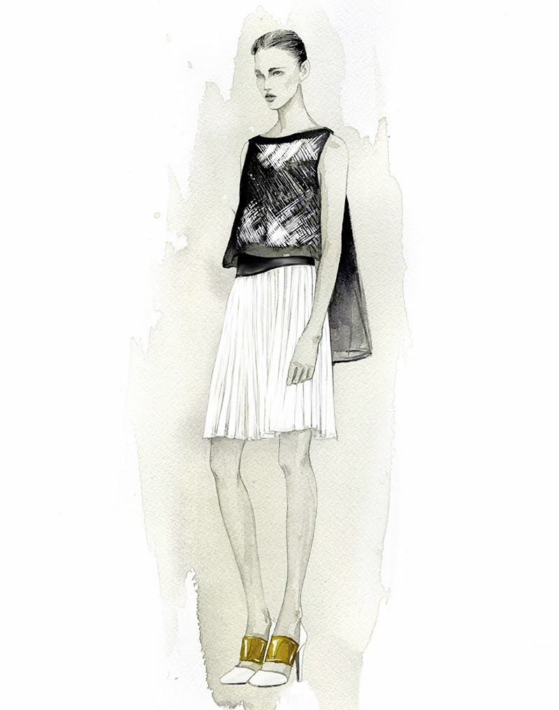 Fashion Illustration - watercolour fashion drawing of Angel Sanchez dress // Mengjie Di