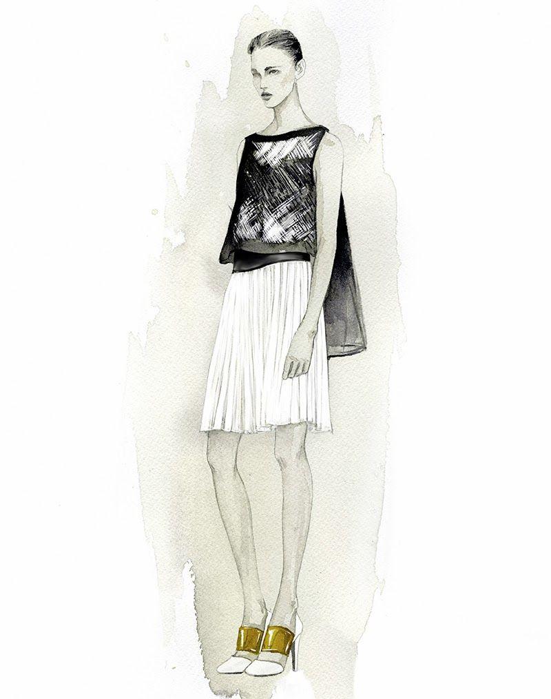 Fashion Illustration - watercolour fashion drawing of Angel Sanchez dress // Mengjie Di