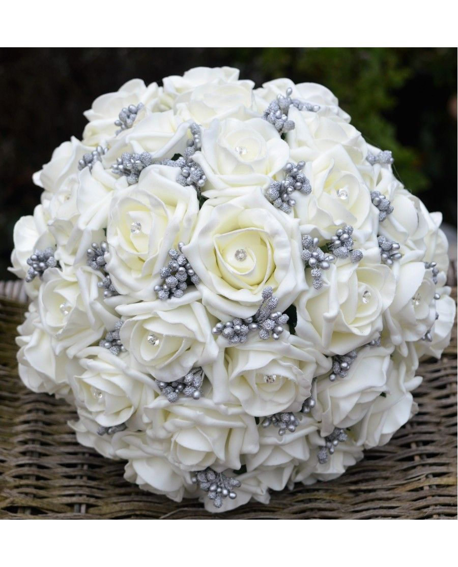 Silver Grey and Ivory Winter Wedding Bouquet with Grey Berries ...