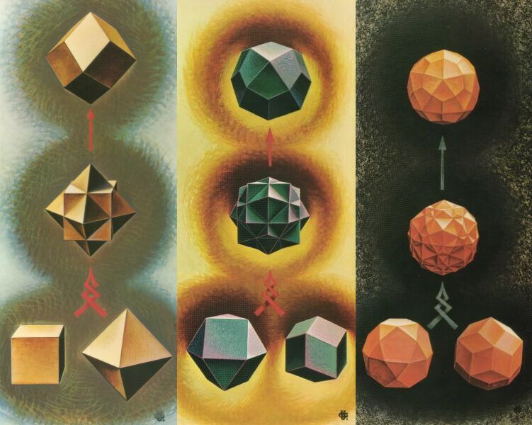 Plate IIb : The origin of the Rhombic Dodecahedron and of variants on the Deltoidal  Icositetrahedron and the Deltoidal Hexecontahedron (See: The Realm ... , Plates VI, V, X).