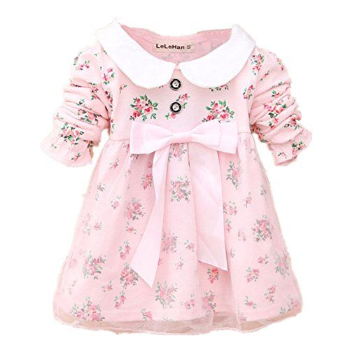 Cotton Long Sleeve Toddler Dress Spring Autumn Floral Bow Kids Dresses For Girls