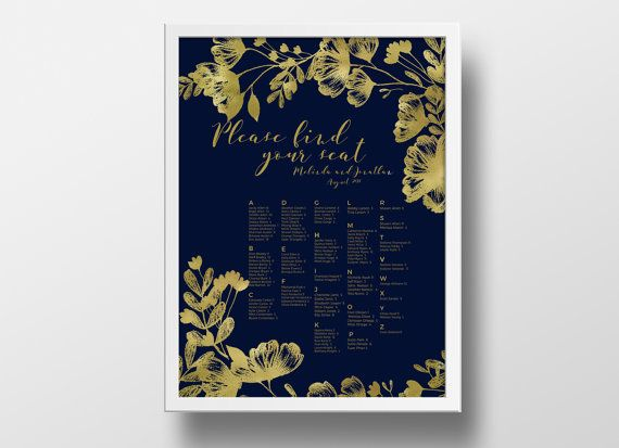 Printable seating chart poster template editable powerpoint instant download diy you print  navy blue  gold floral also rh pinterest