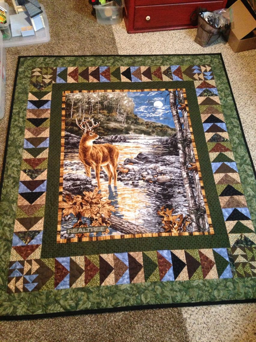 Another Beautiful Deer Quilt Panel Surrounded By Ting Geese Designed By Myself One Of My Favorite Wildlife Quilts Panel Quilts Panel Quilt Patterns