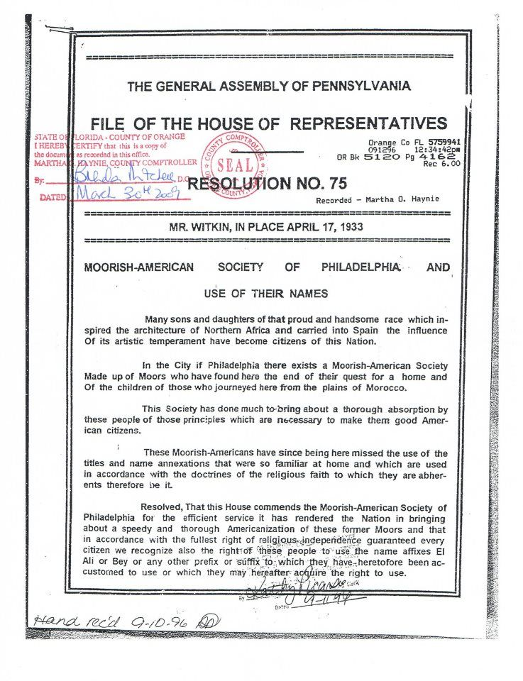 House Resolution 75 - Protects Moors birthright to Free