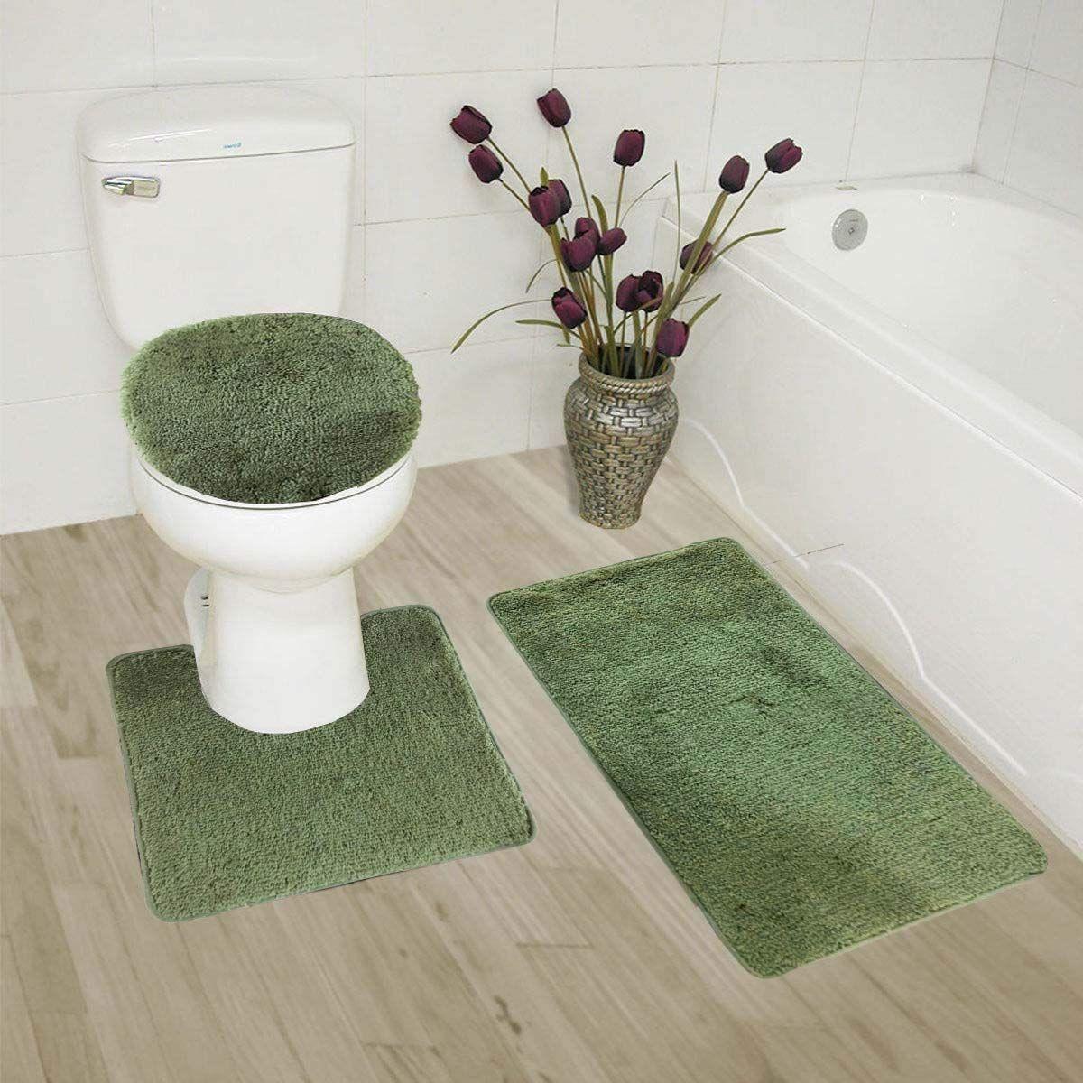 Amazon Com Gorgeoushomelinenvarious Colors 3 Pc Bathroom Set Bath Mat Contour And Toilet Lid Cov Memory Foam Bath Rugs Bath Rugs Sets Bathroom Rugs And Mats