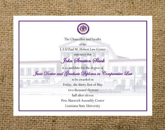 custom graduation announcement any college highschool lsu