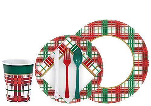 Tiger Chef Christmas Plaid Dinnerware Party Supplies Set For 24 Includes Paper Plates Holi Christmas Party Supplies Christmas Party Decorations Christmas Party