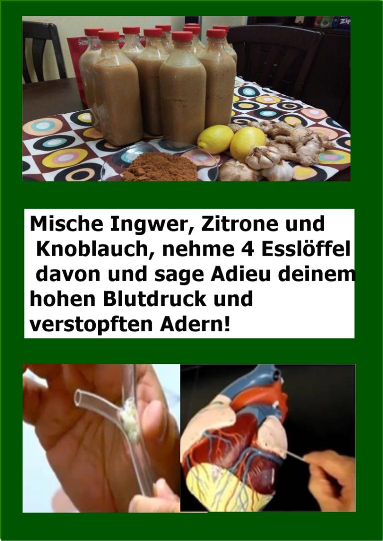 Bildergebnis für Mische Ingwer, Zitrone und Knoblauch, nehme 4 Esslöffel davon und sage Adieu deinem hohen Blutdruck und verstopften Adern!