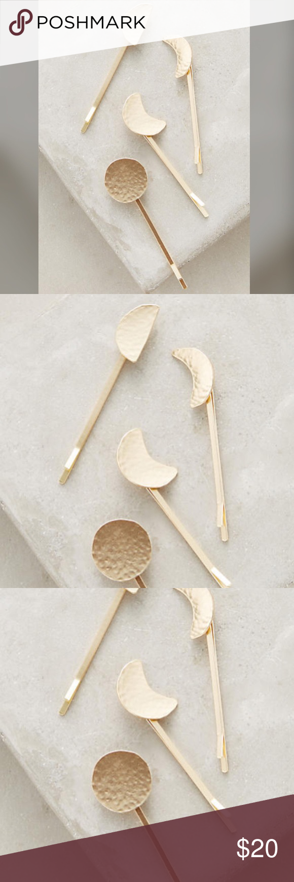 """Anthropologie moon phases bobby pins Anthropologie moon phases bobby pins. NWT.  Set of four Metal Gold color Dimensions 2.5""""W Anthropologie Accessories Hair Accessories"""