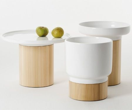 designed by Hanna Ehlers // Side tables with white ceramic top and base in solid oak, ash or American walnut.
