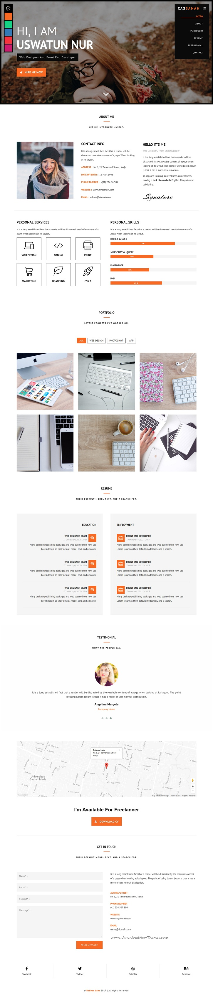 Cassanah  Personal ResumeCvPortfolio Html Template  Resume Cv