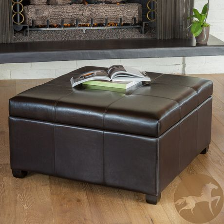 Miraculous Noble House Elaine Bonded Leather Storage Ottoman Brown Cjindustries Chair Design For Home Cjindustriesco