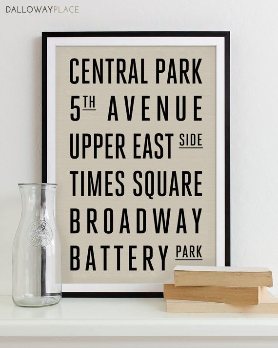 Subway Sign Art Bus Roll Typography Poster - Subway Print NEW YORK ...