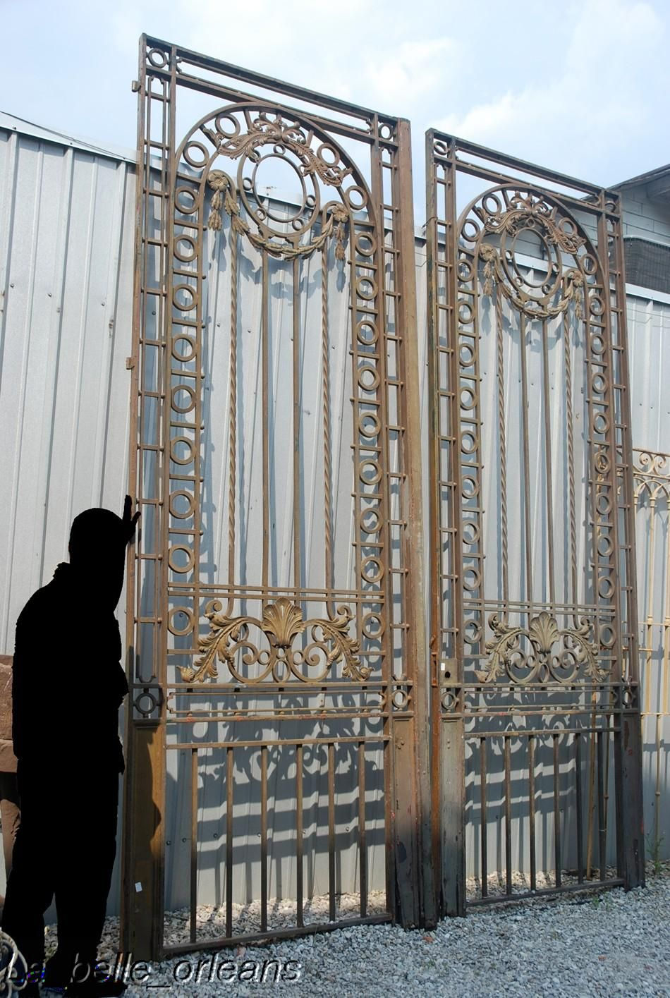 Monumental 19thc French Wrought Iron Mansion Gates For Sale